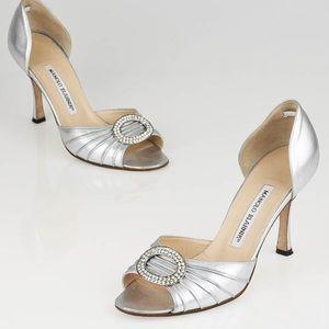 Manolo Blahnik Silver D'Orsay heels-Sz 38 1/2